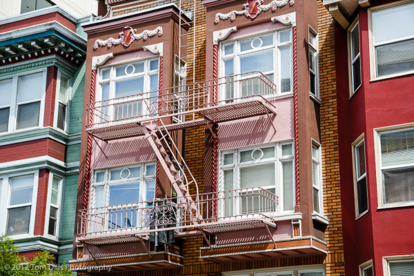 One of numerous fire escapes and colorful facades in San Francisco, California
