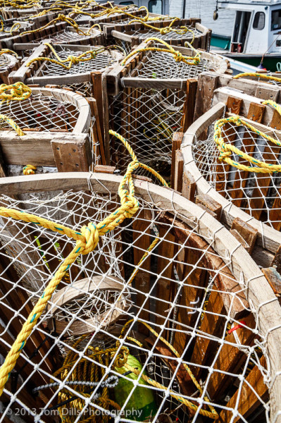 We saw very few wooden lobster traps still in use.  Most of the wooden ones we saw were along the roadside for sale to tourists.  Neil's Harbour, Nova Scotia