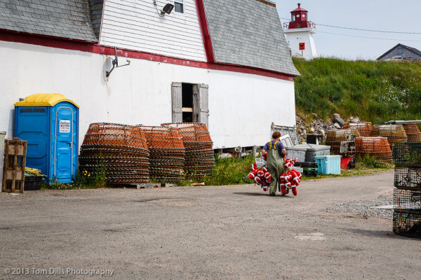 In this family, everyone does their part.  Neil's Harbour, Nova Scotia