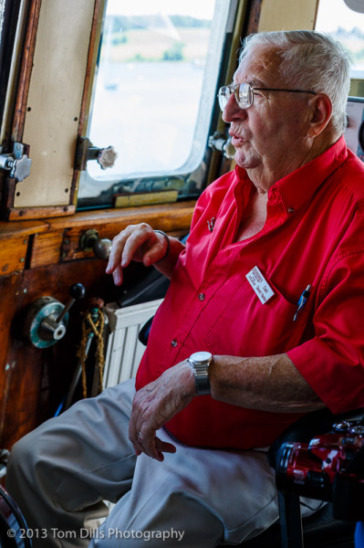 "Retired Captain Hanlon aboard the retired trawler ""Cape Sable"" on display at the Fisheries Museum of the Atlantic, Lunenburg, Nova Scotia"