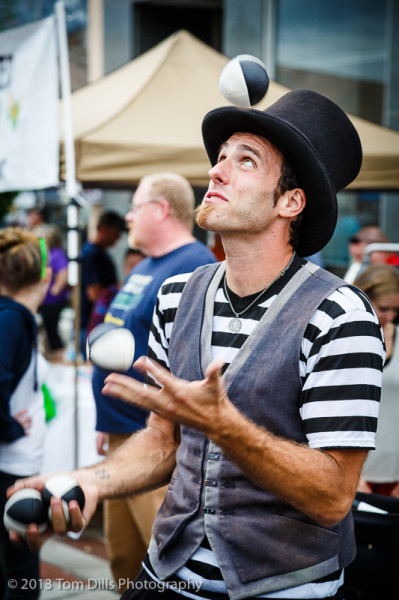 """The Sidewalk Juggler"" performs at the Mountain Glory Festival in Marion, North Carolina"