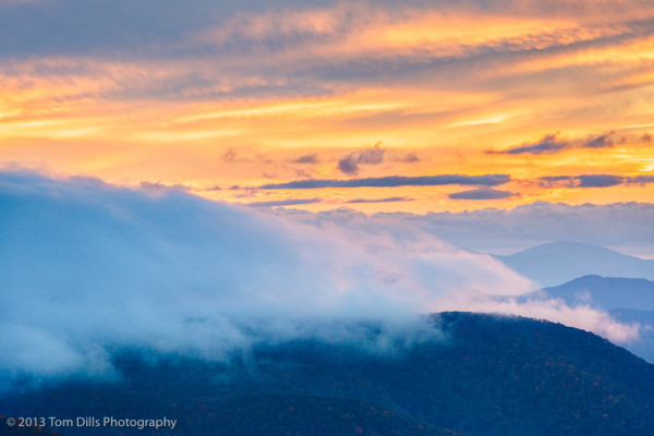 Sunset at Caney Fork Overlook on the Blue Ridge Parkway MP 428