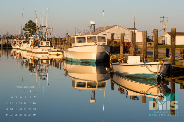 Boat Reflections on Far Creek, Englehard, North Carolina