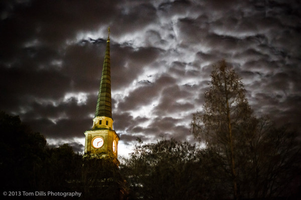 Downtown Davidson, North Carolina under a nearly full moon and some amazing clouds