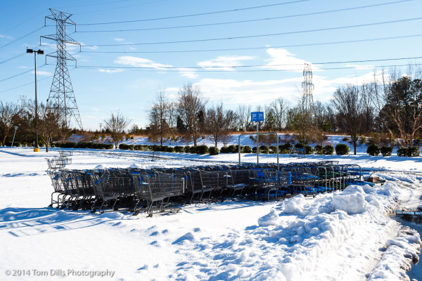 No Shopping Today - Snowbound shopping carts in Wal-Mart parking lot