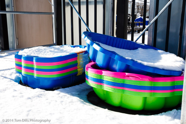 Kiddie pools at Walmart covered with snow