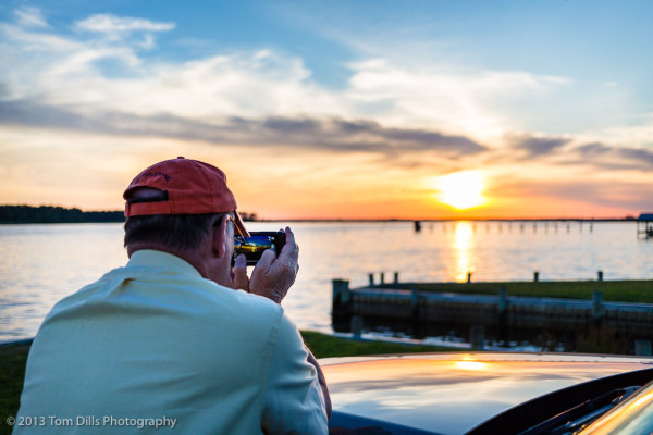Andy Fisher photographing the sunset in Belhaven, North Carolina