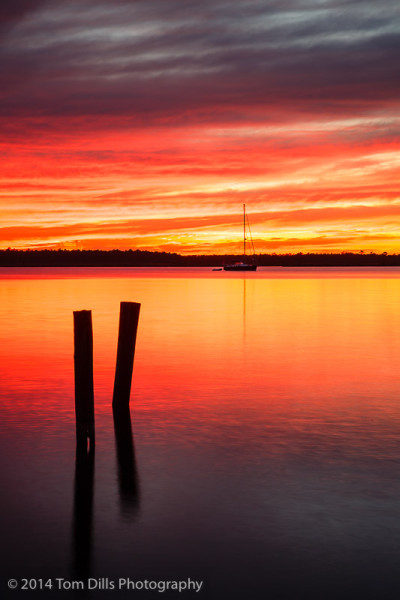 Sunset over Pantego Creek, on the waterfront in Belhaven, North Carolina