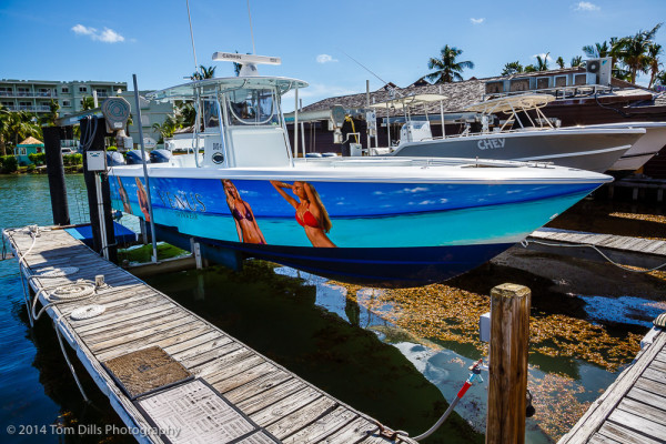 Monte Stevens' boat (NOT!) at a marina at Oyster Bay, St Martin