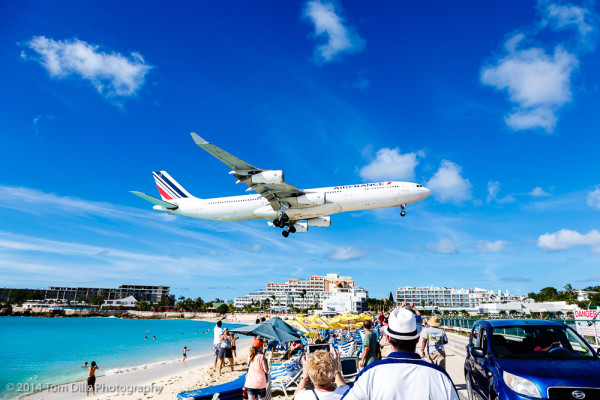 Plane landing over Maho Beach in St Martin