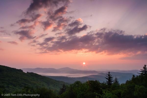 Sunrise from the Blue Ridge Parkway near Green Mountain Overlook near Boone, NC