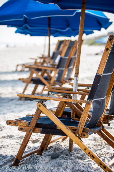 Beach chairs and umbrella, Hilton Head Island, SC