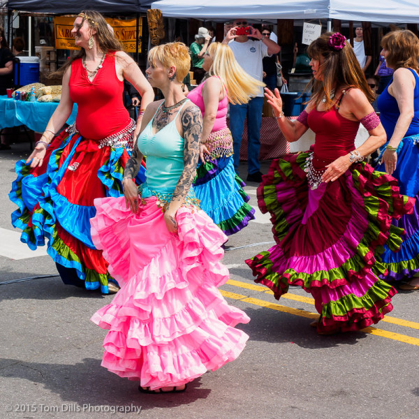 Belly dancing demonstration at the 13th Annual Whole Bloomin Thing Festival in Historic Frog Level, North Carolina