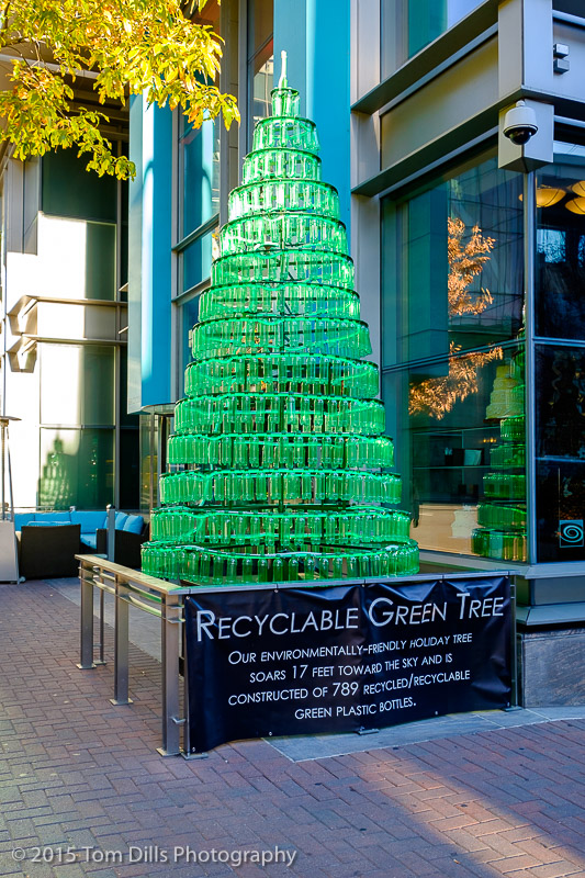 Christmas tree made of recycled bottles, outside the Ritz-Carlton in Charlotte