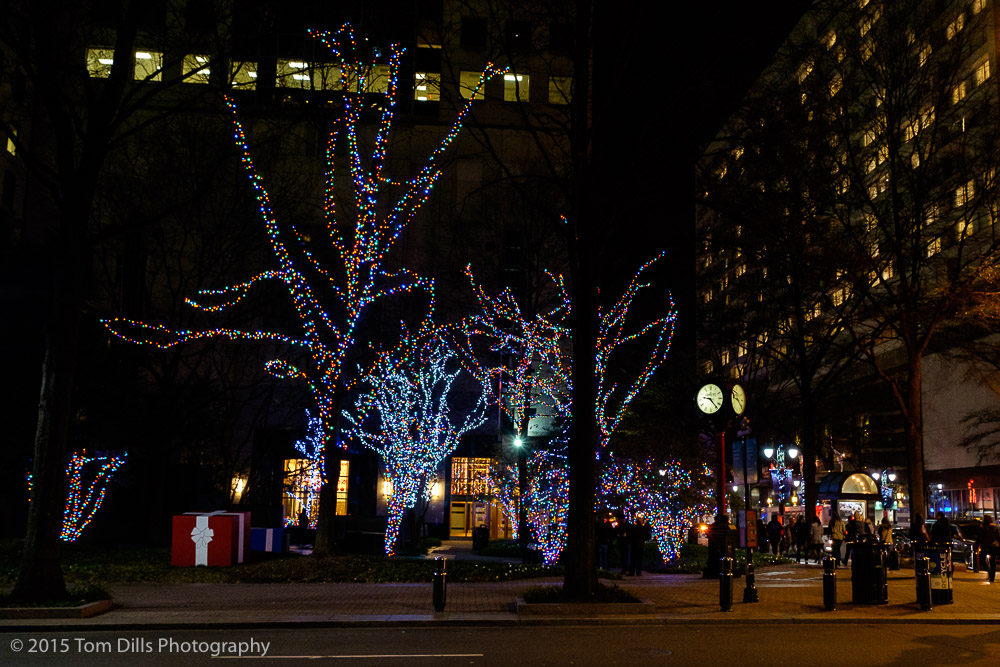 Christmas lights in uptown Charlotte, North Carolina