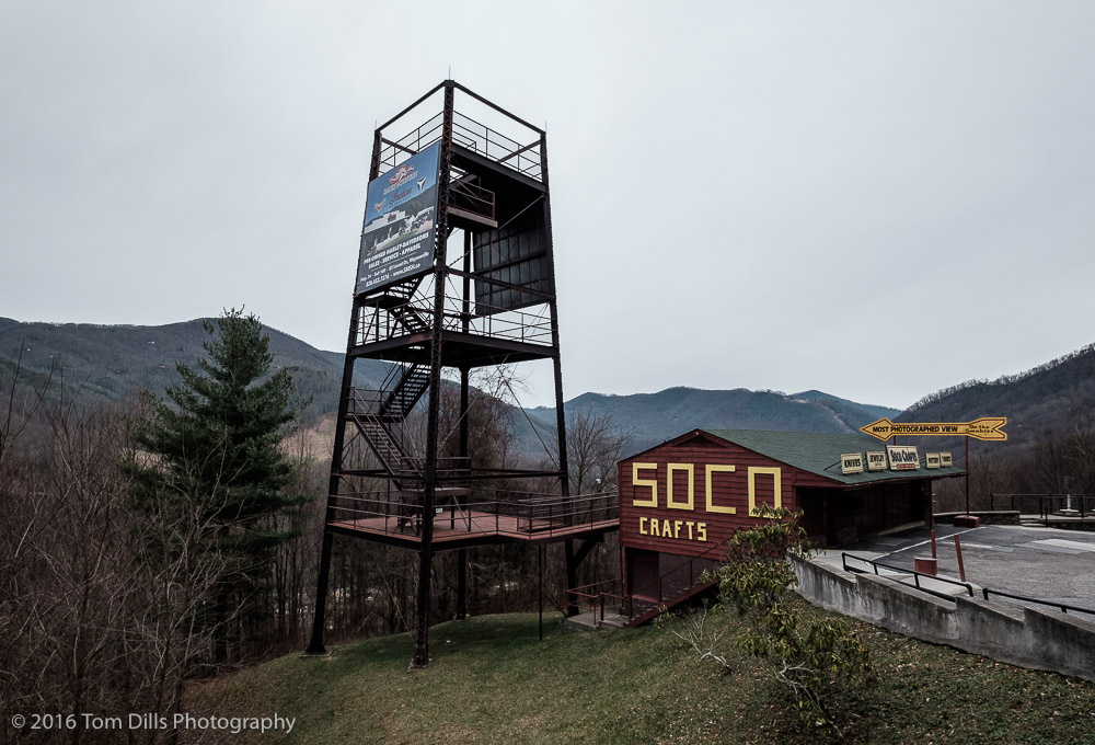 """Most Photographed View in the Smokies"" Vacant building along SR 19 between Maggie Valley and Soco Gap, North Carolina"