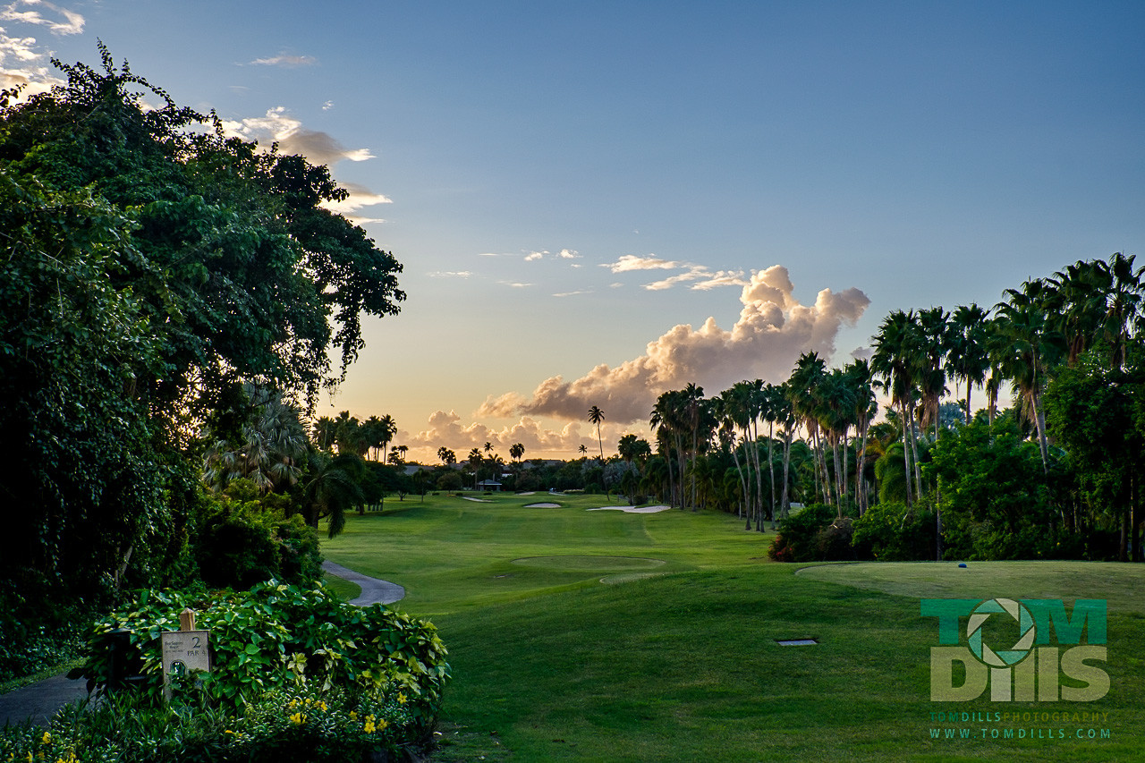 Sunset on the golf course at The Four Seasons Resort, Nevis West Indies