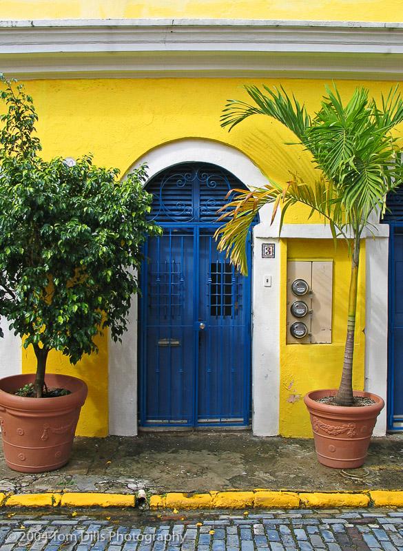 Blue Door and Yellow Building in Old San Juan, Puerto Rico