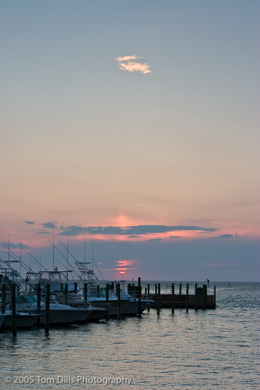 Sunset at Hatteras Harbor Marina, Hatteras Village, NC