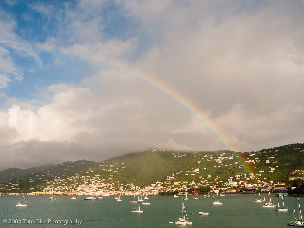 Rainbow over the harbor in St Thomas, US Virgin Islands