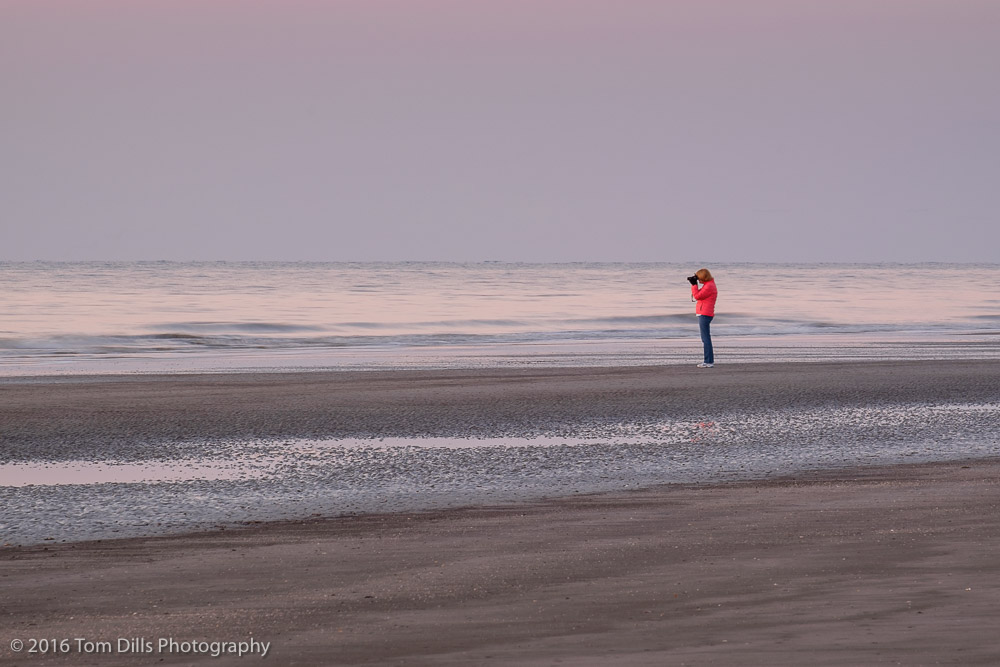 Pictures of people taking pictures of the sunrise on the beach, Hilton Head Island, South Carolina