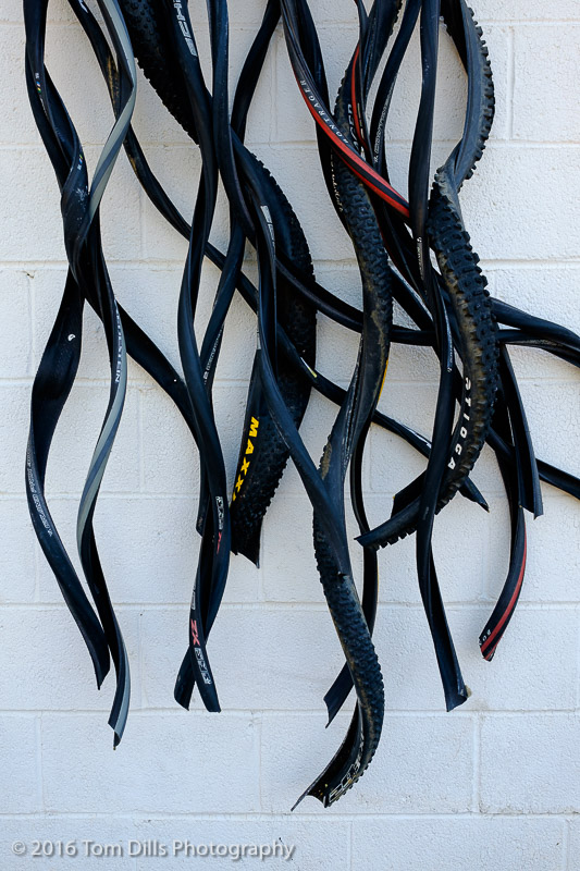 Sculpture made of old tires in uptown Charlotte, North Carolina