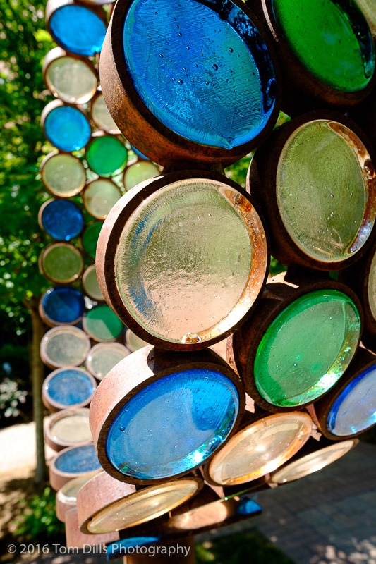 Glass sculpture at a park in uptown Charlotte, North Carolina