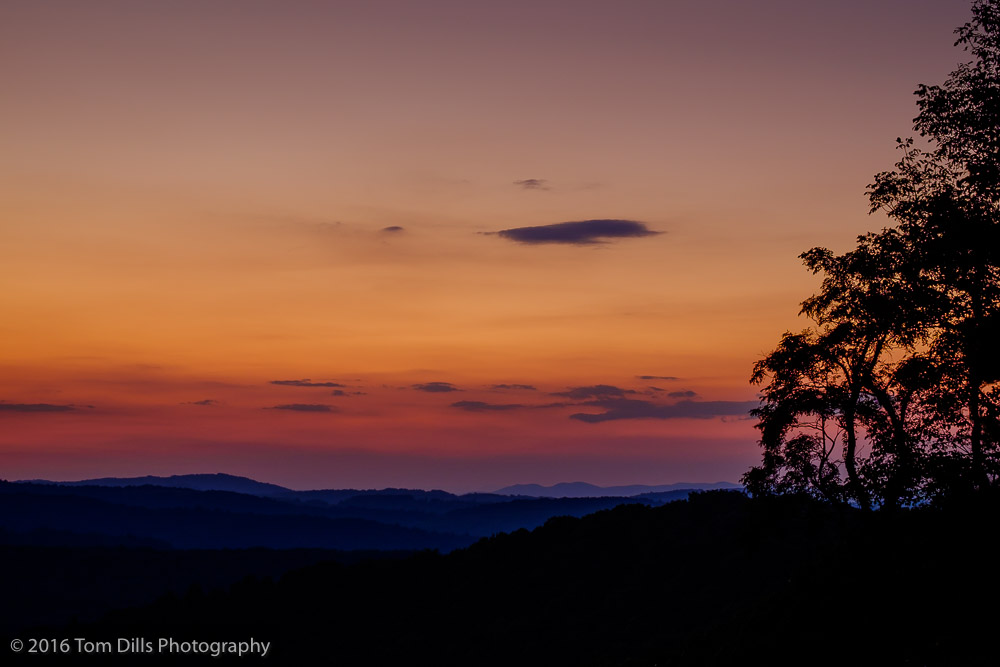 Sunset at The Saddle Overlook, Blue Ridge Parkway near Meadows of Dan Virginia