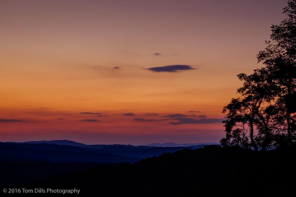 Sunset at The Saddle Overlook, Blue Ridge Parkway near Meadows of Dan Virginia