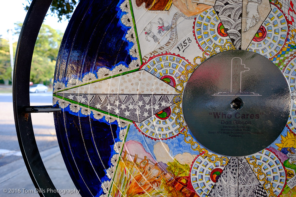 One of many record album sculptures in tribute to songwriter Don Gibson in Shelby, North Carolina