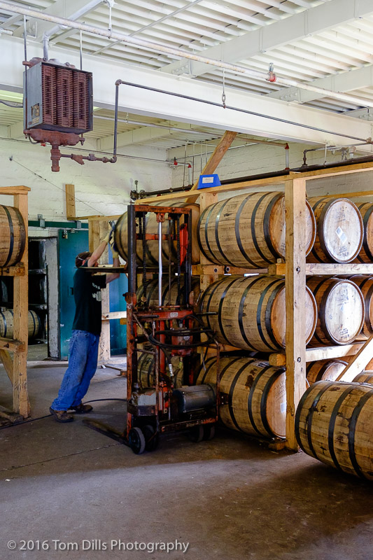 Stacking the barrels for storage. Buffalo Trace Distillery, Frankfort Kentucky